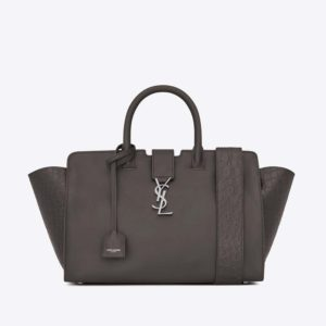 Saint Laurent YSL Women Small DOWNTOWN Cabas Bag Grey Crocodile Embossed