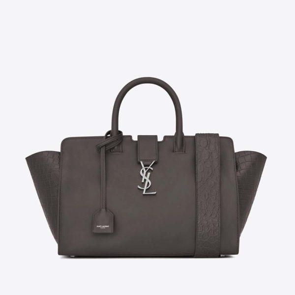 Saint Laurent YSL Women Small DOWNTOWN Cabas Bag Grey Crocodile Embossed