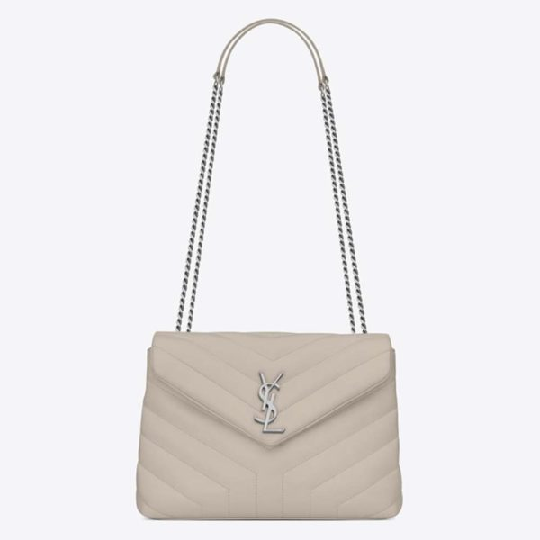 Saint Laurent YSL Women Small Loulou Bag Y Quilted Leather-White