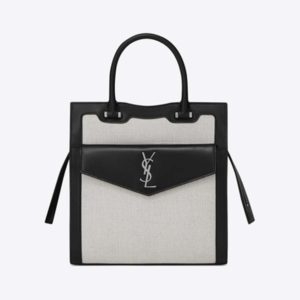 Saint Laurent YSL Women Small Uptown Tote in Linen Canvas