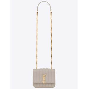 Saint Laurent YSL Women Small Vicky Bag Quilted Lambskin-White