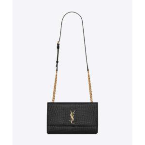 Saint Laurent YSL Women Sunset Medium Supple Crocodile Embossed Leather