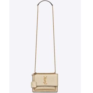 Saint Laurent YSL Women Sunset Small in Metallic Leather-Gold