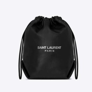 Saint Laurent YSL Women Teddy Drawstring Bag Smooth Leather-Black