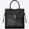 Saint Laurent YSL Women Uptown Small Tote Shiny Smooth Leather-Black