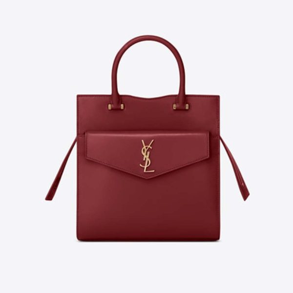Saint Laurent YSL Women Uptown Small Tote Shiny Smooth-Red