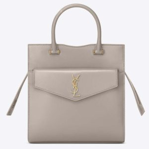 aint Laurent YSL Women Uptown Small Tote in Shiny Smooth Leather-White