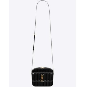 Saint Laurent YSL Women Vicky Camera Bag Quilted Patent Leather-Black