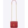 Saint Laurent YSL Women Vicky Small Matelasse Patent Leather-Red