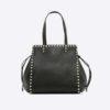 Valentino Garavani Rockstud Small Double Handle Bag in Calfskin-Black
