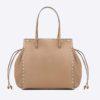 Valentino Garavani Rockstud Small Double Handle Bag in Calfskin-Brown