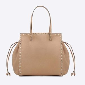 Valentino Garavani Rockstud Small Double Handle Bag in Calfskin-Brown
