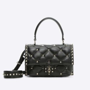 Valentino Women Candystud Top Handle Bag in Leather-Black