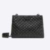 Valentino Women Cracked Lamb Spike Shoulder Bag-Black