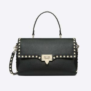 Valentino Women Medium Grain Calfskin Leather Rockstud Handbag-Black