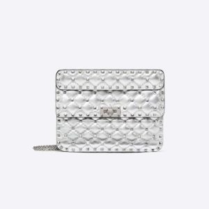 Valentino Women Medium Metallic Rockstud Spike Bag-Silver