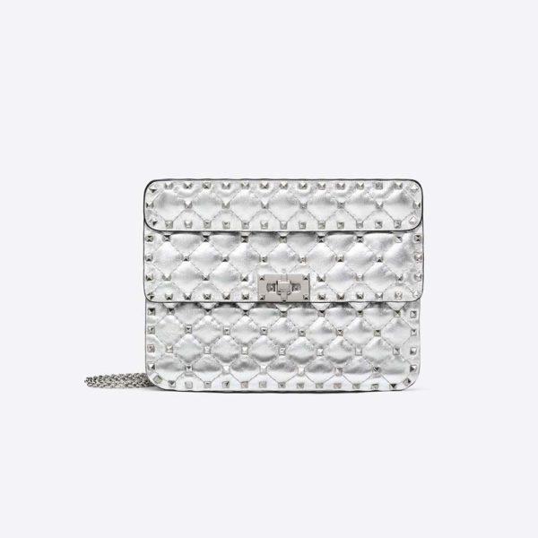 Valentino Women Medium Metallic Rockstud Spike Bag-Silver