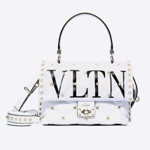 Valentino Women Medium VLTN Candystud Top-Handle Bag-White