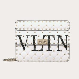 Valentino Women Medium VLTN Rockstud Spike.IT Bag-White