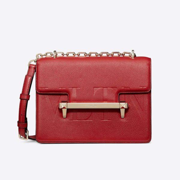Valentino Women Medium VLTN Uptown Shoulder Bag-Red