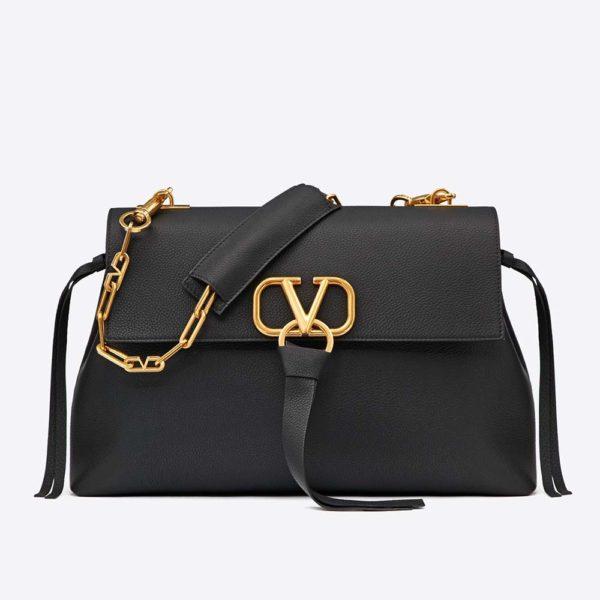 Valentino Women Medium Vring Smooth Calfskin Chain Bag-Black
