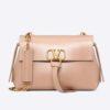 Valentino Women Medium Vring Smooth Calfskin Chain Bag-Pink
