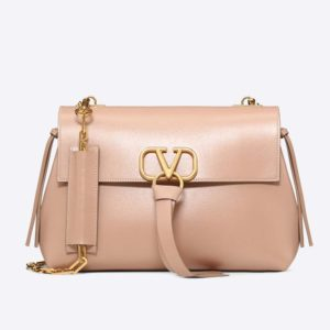 Valentino Women Medium Vring Smooth Calfskin Chain Bag-Pink