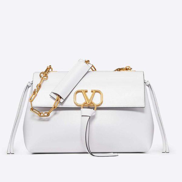 Valentino Women Medium Vring Smooth Calfskin Chain Bag-White