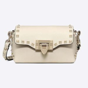 Valentino Women Mini Rockstud Cross Body Bag-White