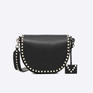 Valentino Women Rockstud Crossbody Bag in Calfskin Leather-Black