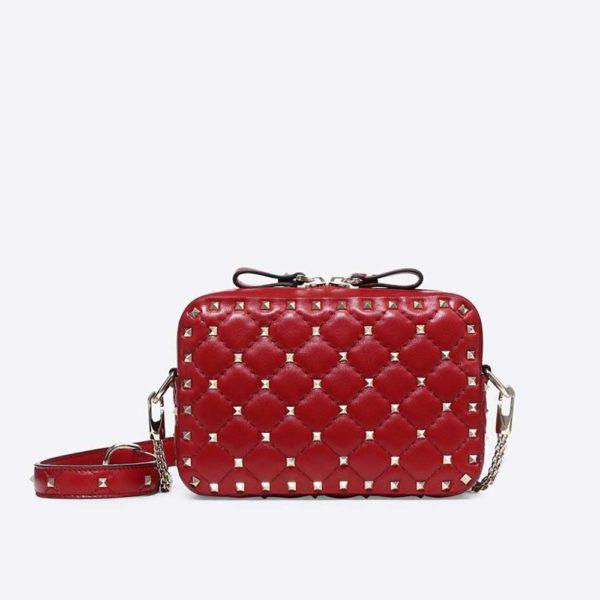 Valentino Women Rockstud Spike Cross Body Bag in Nappa Leather-Red