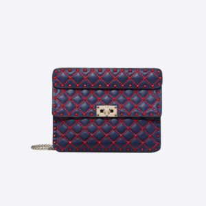 Valentino Women Shoulder bags in Quilted Nappa Leather-Blue