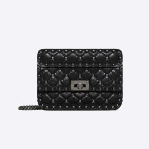 Valentino Women Small Crinkled Lambskin Rockstud Spike Bag-Black
