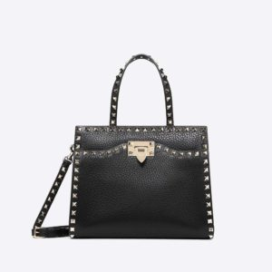 Valentino Women Small Rockstud Top Handle Bag-Black