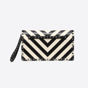 Valentino Women Striped Rockstud Wristlet Clutch-Black