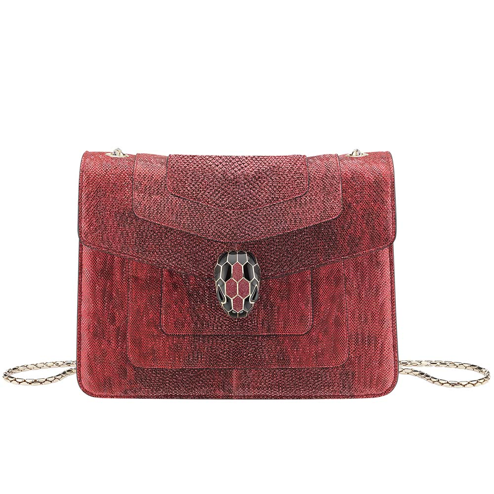 Bvlgari Serpenti Forever Crossbody Bag in Ruby Red Metallic Karung Skin