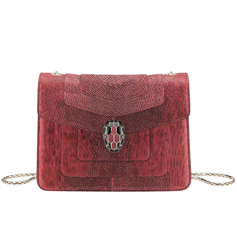 Bvlgari Serpenti Forever Crossbody Bag in Ruby Red Metallic Karung Skin