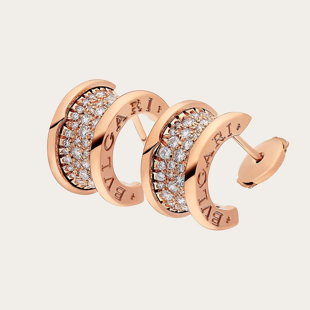 Bvlgari Women B.zero1 Earrings in 18 KT Rose Gold Set with Pave Diamonds on the Spiral