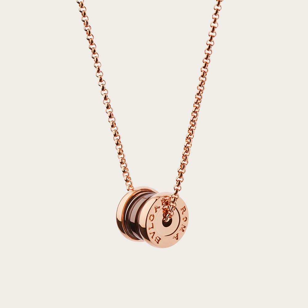 Bvlgari Women B.zero1 Necklace with 18 KT Rose Gold Chain and Pendant in 18 KT Rose Gold and Cermet