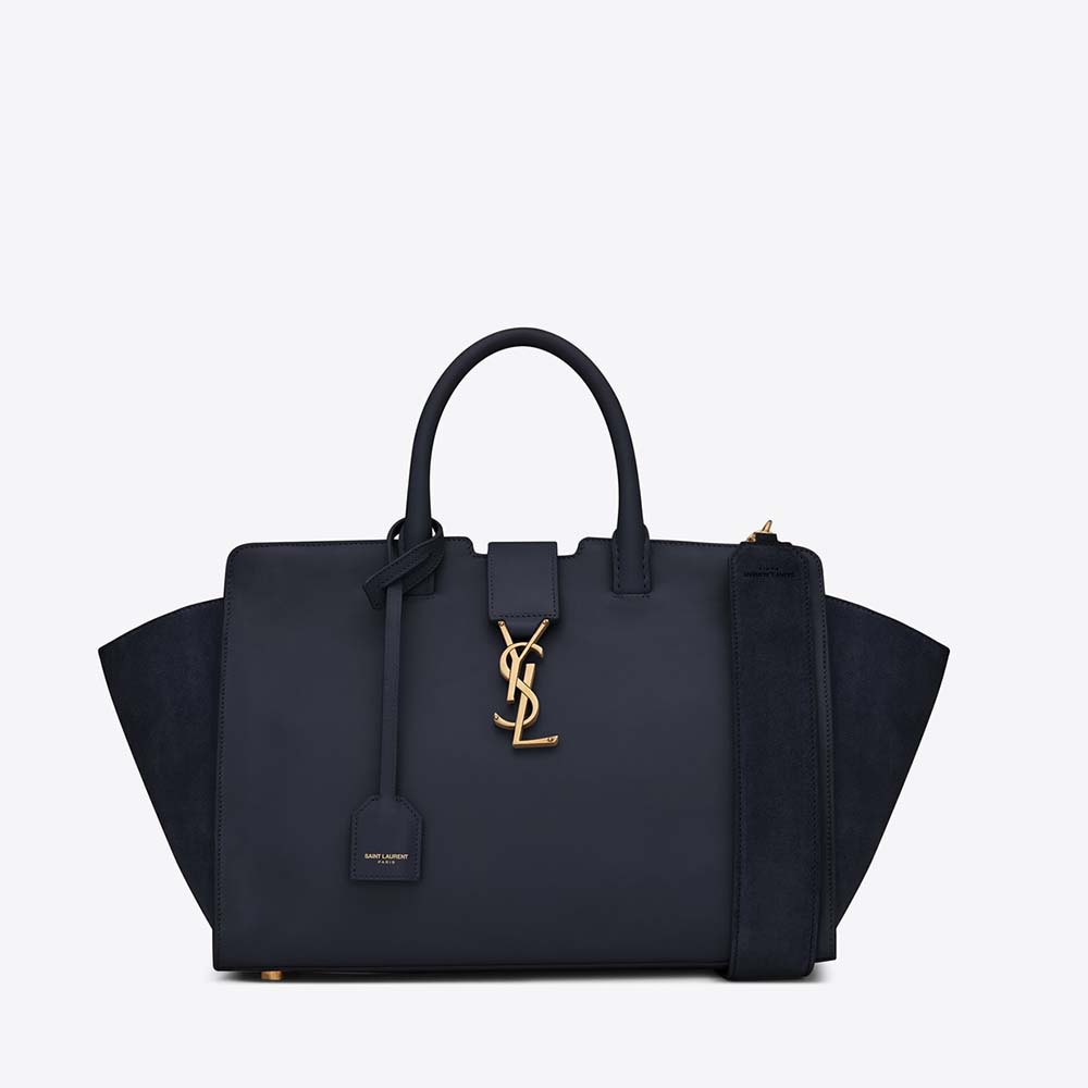 Saint Laurent YSL Women Small Downtown Cabas Bag In Navy Blue Leather And Suede