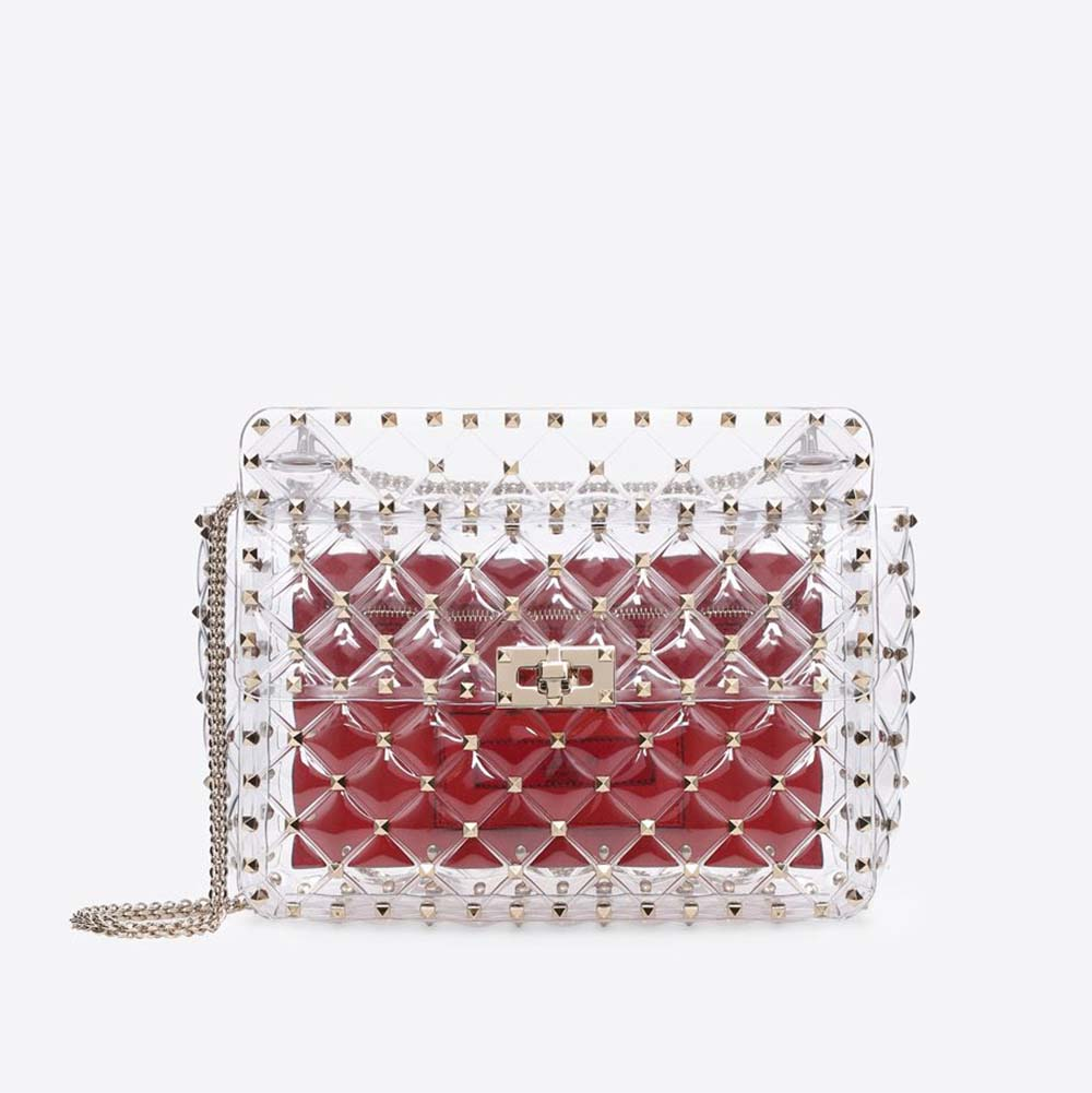 Valentino Women Rockstud Spike Medium Chain Bag in Quilted-Red