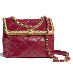 Chanel Women Kiss-Lock Bag Lambskin & Gold-Tone Metal-Red