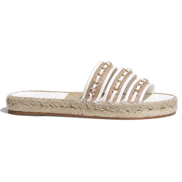 Chanel Women Mules Lambskin Beige & White