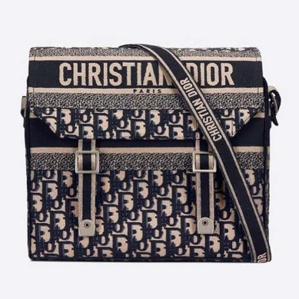 Dior Unisex Diorcamp Bag Oblique Embroidery Embroidered Canvas Messenger Bag-Navy