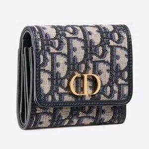 Dior Unisex 30 Montaigne Lotus Wallet Blue Dior Oblique Jacquard