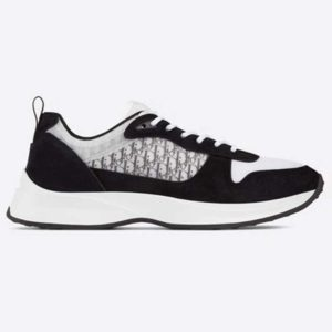 Dior Unisex B25 Runner Sneaker Black Dior Oblique Canvas and Suede