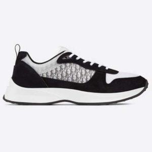 Dior Unisex B25 Runner Sneaker Black Dior Oblique Canvas and Suede