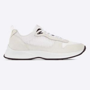 Dior Unisex B25 Runner Sneaker White Dior Oblique Canvas and Suede