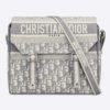 Dior Unisex Diorcamp Bag Oblique Embroidery Embroidered Canvas Messenger Bag-Grey