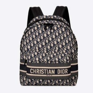 Dior Unisex Diortravel Backpack Blue Dior Oblique Jacquard 'Christian Dior'